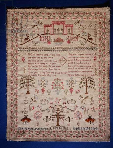 A hill with Colonnade, various motifs and Inscribed Verse, by R. Benjamin, 19th century (wool embroidered with polychrome silks)