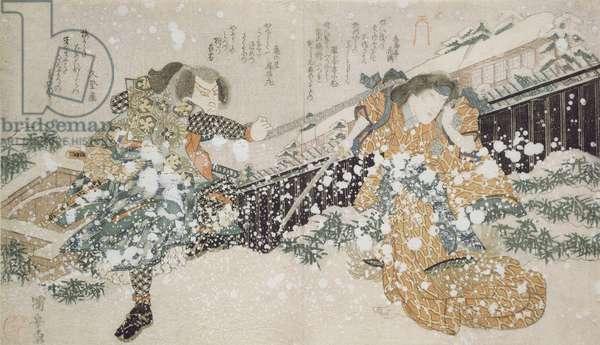 Diptych (LtoR): The Actors Bando Mitugoro III and Segawa Kikunojo V, 1826 (woodblock print)