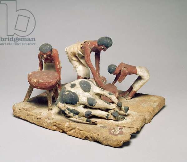 Model of butchers at work, from the Tomb of Khety, Beni Hasan, Middle Kingdom, c.1985-1900 BC (painted wood)