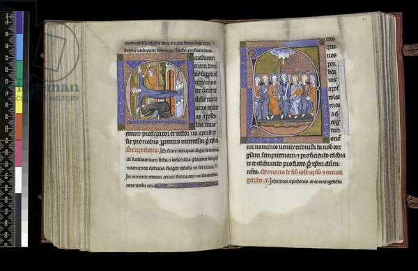 MS 300 f.200v-201r, Suffrage to St Andrew and Suffrage to the Apostles, from the Psalter and Hours of Isabella of France, Paris, c.1265-70 (pen & ink and tempera on parchment)