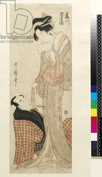 Umegawa and Chûbei, 1800 (colour woodblock print)