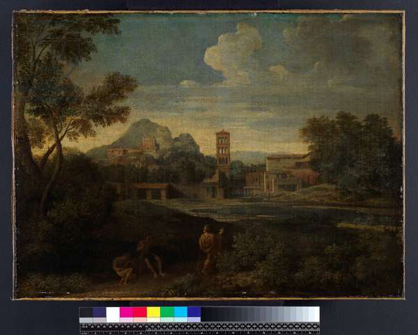 Landscape with figures, before 1675 (oil on canvas)