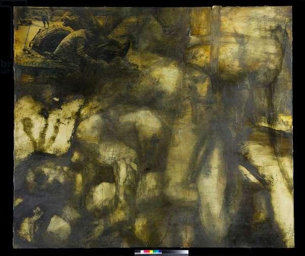 Wrestlers II, 2000 (oil on canvas (incorporating inkjet on gampi tissue))