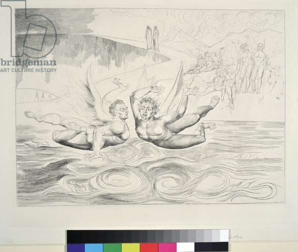 The Circle of the Corrupt Officials: The Devils Mauling Each Other, Inferno, Canto XXII, illustration to the 'Divine Comedy' by Dante Alighieri, 1827 (engraving)