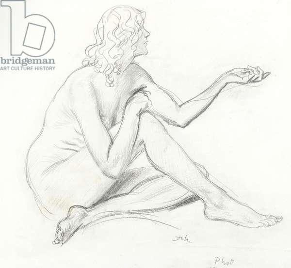 A seated female nude, in profile to right (graphite on paper)