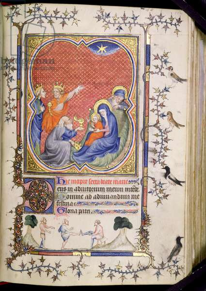 Ms 3-1954 f.102r The Adoration of the Magi, from a Book of Hours written and illuminated in France for Philip the Bold (Le Hardi) Duke of Burgundy (1342-1404) 14th century (vellum)