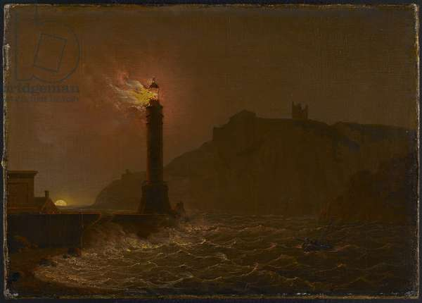 A Lighthouse on fire at night (oil on canvas)