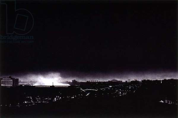 Yankee Stadium at Night, 1983 (mezzotint on paper)