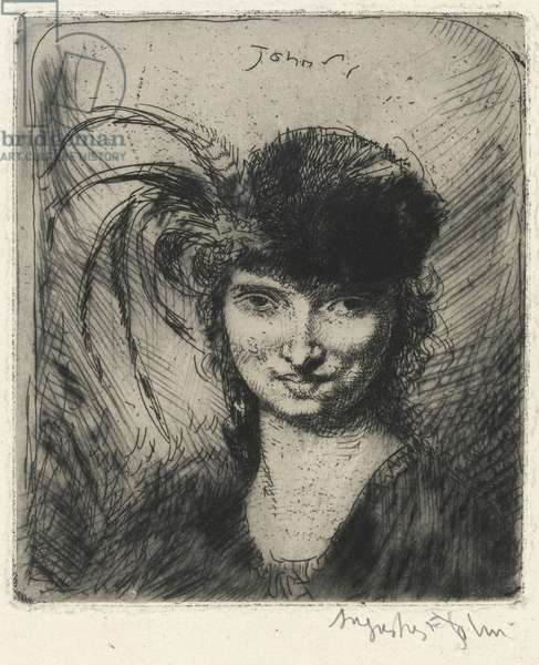 Girl smiling, in fur hat and feathers, 1906 (etching)