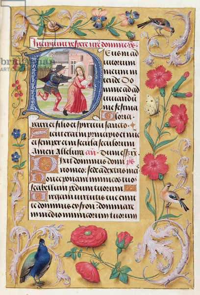 MS 1058-1975 f.89r Historiated initial 'D' depicting The Slaughter of the Innocents, with foliate border, from a Book of Hours, Flemish, c.1500 (vellum)