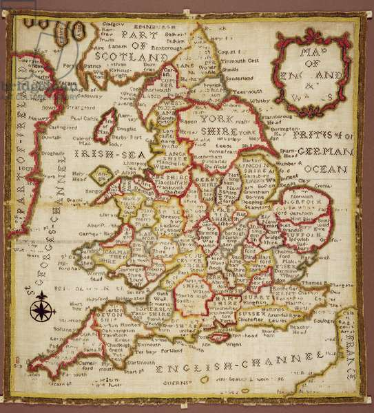 Sampler depicting a Map of England and Wales, chain, double back and satin stitch, by Ann Seaton of Lincoln, 1798
