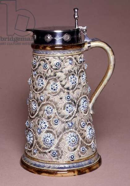 Jug with silver lid, 1874 (ceramic)