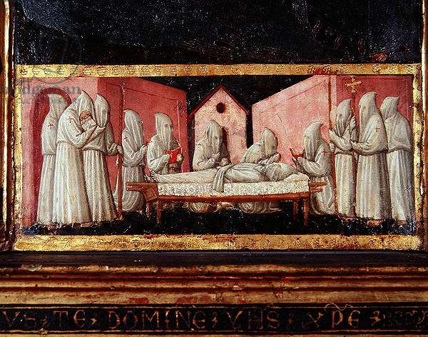 Funeral Scene, from The Virgin of Humility with Angels and Saints, c.1440 (tempera and gold on panel) (detail)