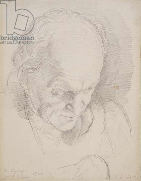 Portrait of William Blake (1757-1827) Leaning Forward, 1820 (pencil on paper)