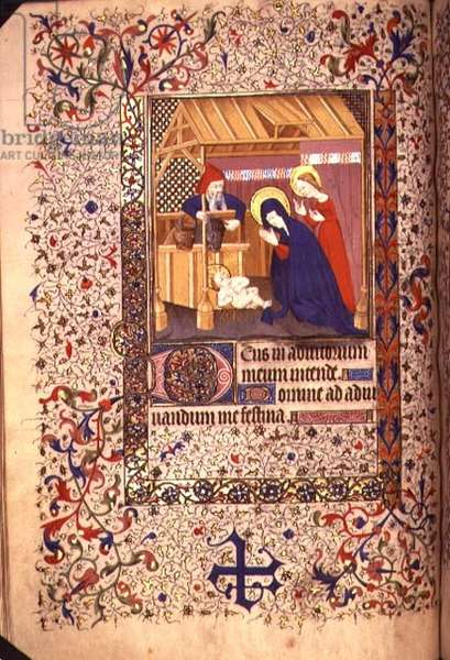 MS.60.f64v The Nativity, French Horae, c.1420 (vellum)