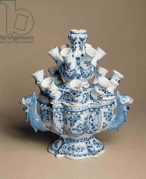 Enamelled earthenware tulip stand with lid, Delft, c.1700