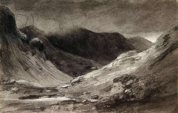 The vale of Newlands: A very stormy afternoon, 1806 (grey wash & graphite on paper)