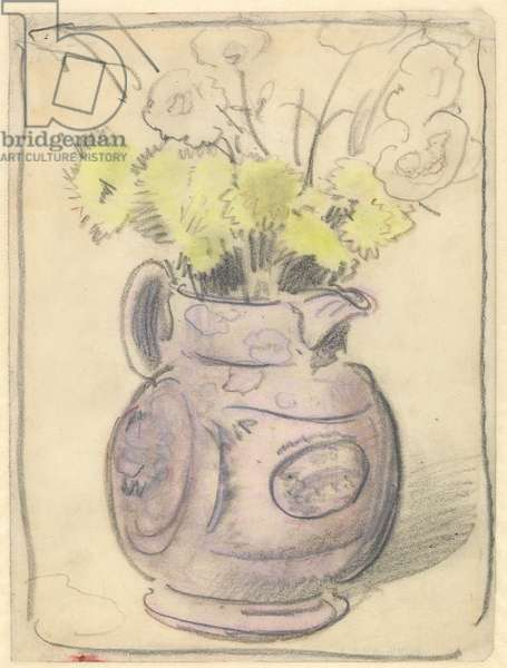 Vase of flowers: yellow chrysanthemums in a lustre jug (black & coloured chalks on paper)