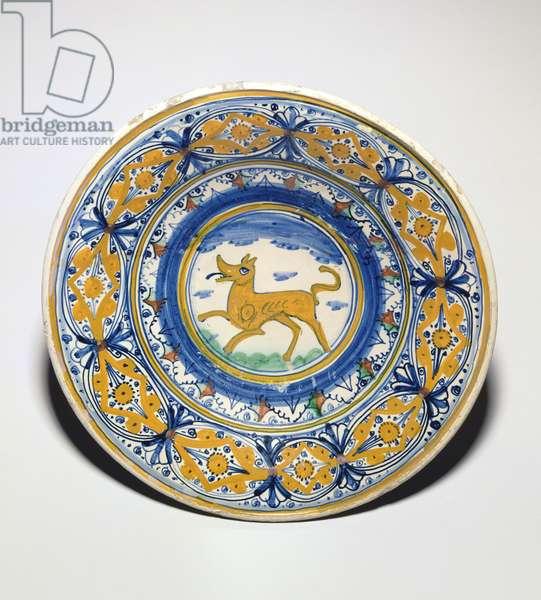 C.183-1991 Maiolica dish, earthenware, Montelupo potteries, c.1510-25