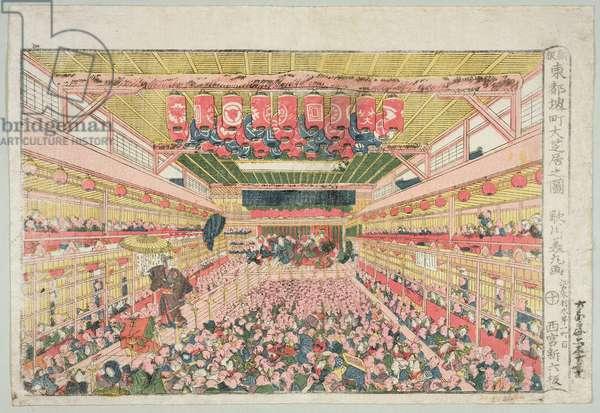 The interior of the Nakamura Theatre, Sakai Street, published by Nishinomiya Shinroku, before 1841 (woodblock print)
