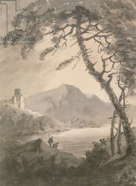 Landscape with Ruined Castle (black chalk, ink & wash)