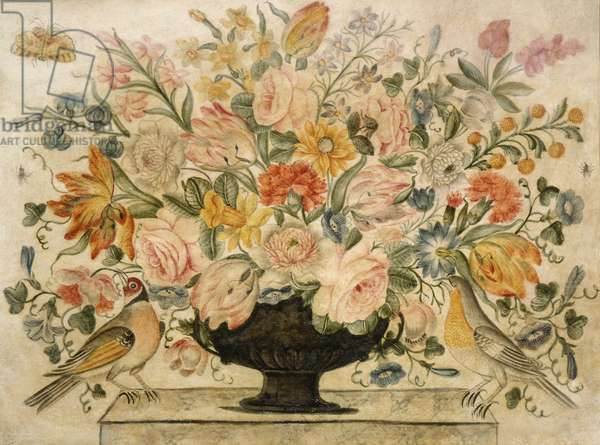 An urn containing flowers on a ledge with two birds, 1600 (w/c with gouche on paper)