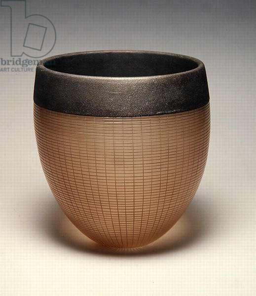 Light brown glass bowl with sandy rim, 1999 (glass)