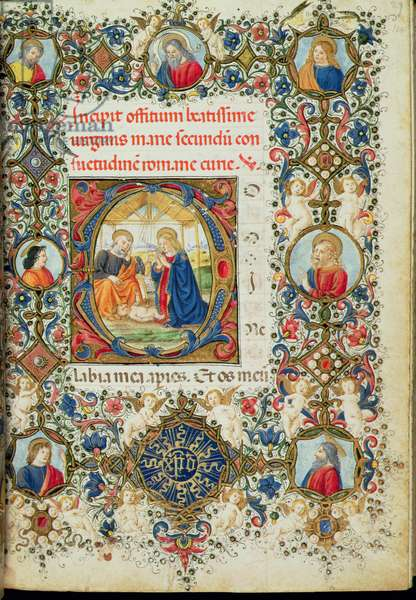 Ms 154 f.14r Adoration of the Christ Child, from a Book of Hours, Italian, 15th century (manuscript)