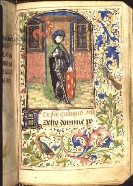 Ms 143 f.226r Quirinus in armour, Book of Hours, c.1480