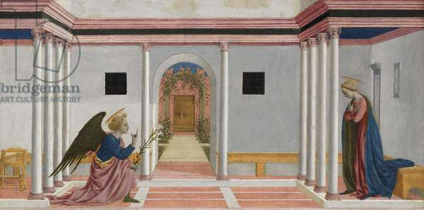 The Annunciation, predella panel from the St. Lucy Altarpiece, c.1442-48 (tempera on panel)