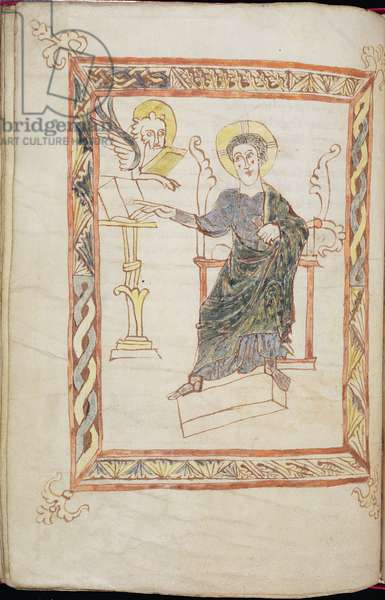 MS.45-1980 f.63v St. Mark pointing to a book on a lectern, Gospel Book in Latin, Breton, 9th-10th century