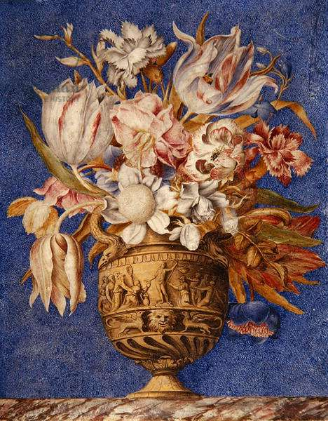 Flowers in a vase which stands on a marble ledge (w/c, gouache & gold on vellum)