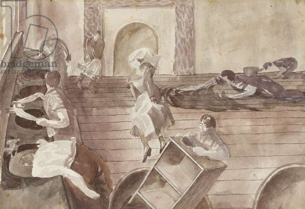 Scrubbing the Floor and Soldiers Washing, Beaufort Hospital, Bristol, c.1921 (graphite and grey wash with white heightening on paper)