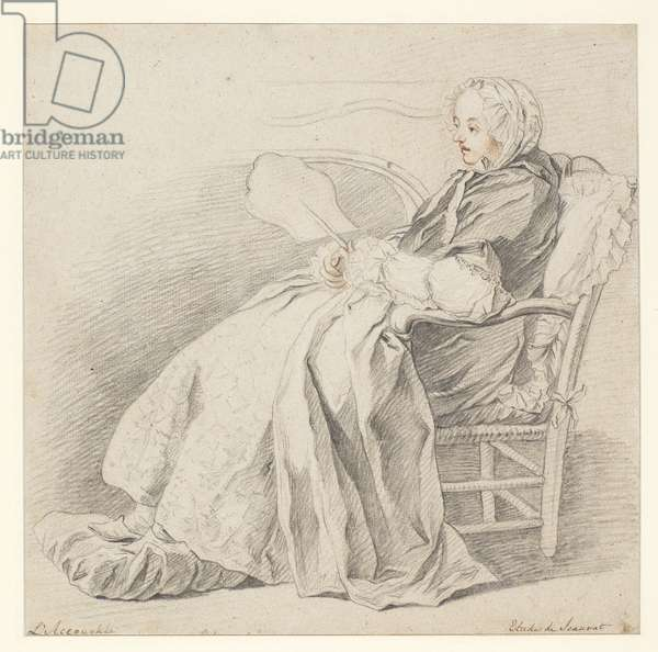 Study for 'L'Accouchée', c.1750 (chalk on paper)
