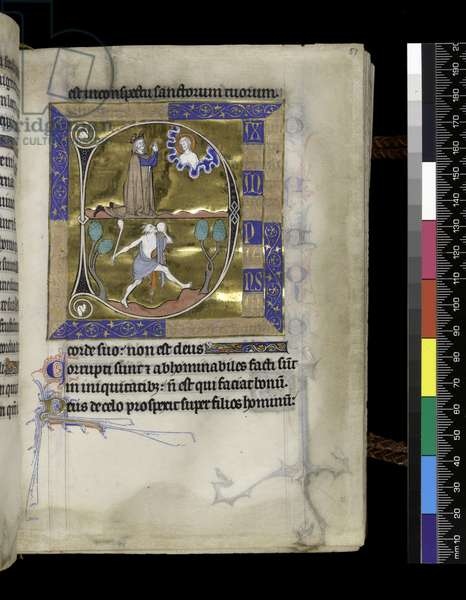 MS 300 f.57r, David prays to God (above), fool with club and disc (below), from the Psalter and Hours of Isabella of France, Paris, c.1265-70 (pen & ink and tempera on parchment)