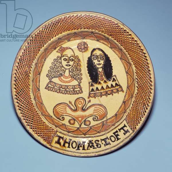 Staffordshire plate depicting King Charles II (1630-85) and Queen Catherine of Braganza (1638-1705) (earthenware)