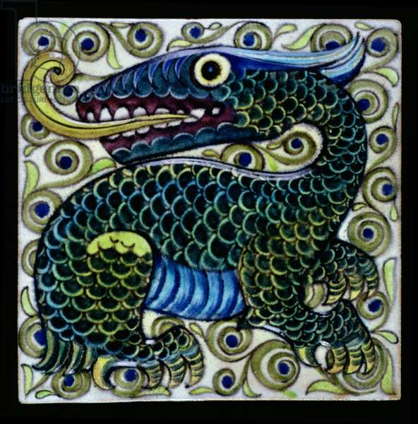Buff earthenware tile, depicting a fantastic dragon, by William de Morgan (1839-1917), English, possibly Merton Abbey, c.1882-88