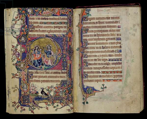 Ms 1-2005, ff.161v-162r: The Father and Son, historiated initial 'D' from the Macclesfield Psalter, Use of Sarum, East Anglia, c.1330 (vellum)