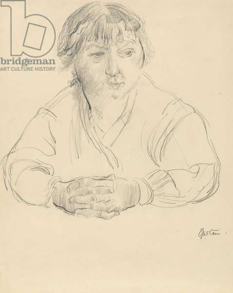 Portrait of the artist's wife, Margaret, c.1912 (graphite on paper, laid down on card