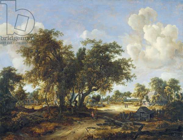 Wooded Landscape with Cottages, 1665 (oil on canvas)