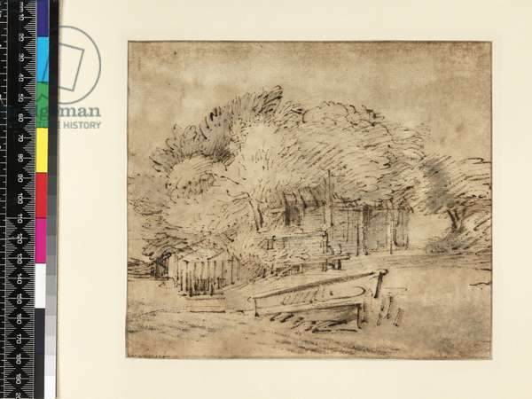 Farmhouse beneath trees, with a footbridge, c.1650 (pen & ink with wash on paper)