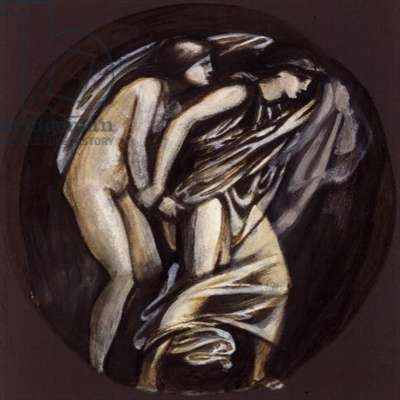 Orpheus leading Eurydice from Hades, design for the Graham Piano, 1879-80 (bodycolour on brown surface)