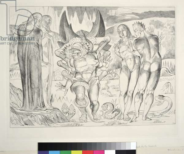 The Circle of the Thieves: Agnolo Brunelleschi Attacked by a Six-Footed Serpent, Inferno, Canto XXV, illustration to the 'Divine Comedy' by Dante Alighieri, 1827 (engraving)
