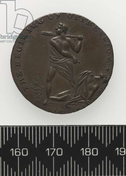 'End of Oppression' Token, Cain and Abel, obverse (copper)