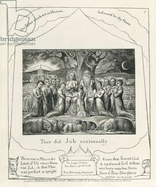 Plate 1, Job and his Family, illustration from the 'Book of Job', c.1825 (black carbon ink on paper)