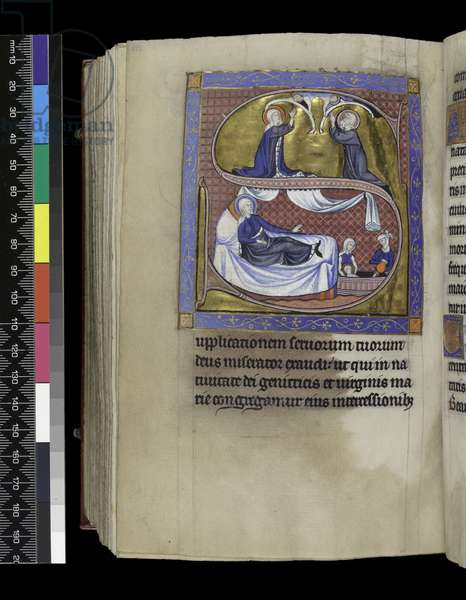 MS 300 f.271v, Collects, sermons and lessons for the Nativity of the Virgin, from the Psalter and Hours of Isabella of France, Paris, c.1265-70 (pen & ink and tempera on parchment)