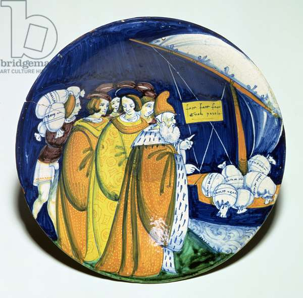 Maiolica plate depicting Doge Agostino Barbarigo supervising the loading of money bags, tin-glazed earthenware, Venice, c.1494-95