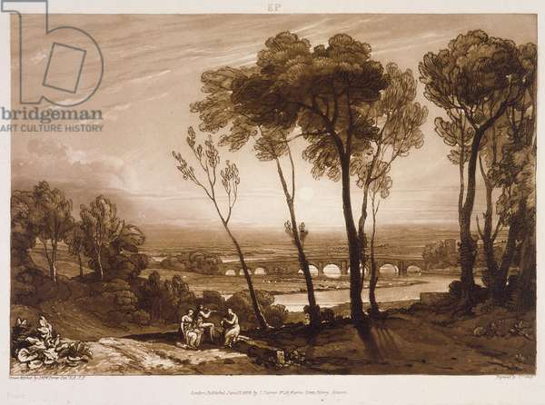 F.13.I The Bridge in Middle Distance, from the 'Liber Studiorum', engraved by Charles Turner, 1808 (etching)