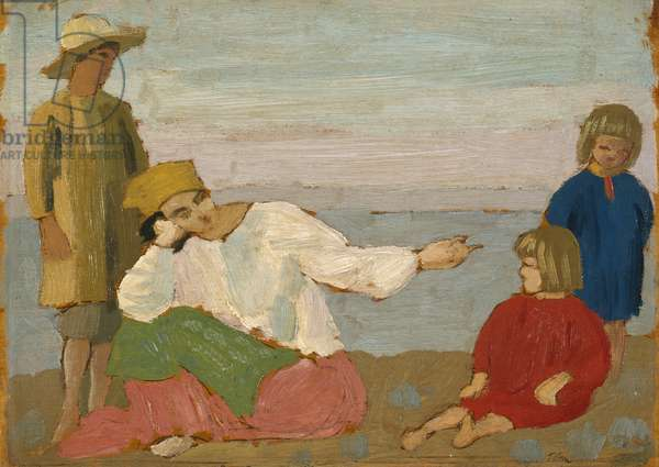 Dorelia and the Children at Martigues, 1910 (oil on panel)