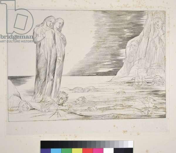 The Circle of the Traitors: Dante's Foot striking Bocca degli Abbate, Inferno, Canto XXXII, illustration to the 'Divine Comedy' by Dante Alighieri, c.1827-38 (engraving)